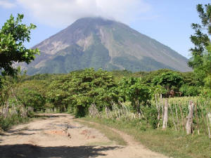 Ometepe Island, Volcan Concepcíon in background